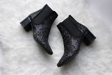 ZARA WOMAN BLACK GLITTER SPARKLE BLOGGERS ANKLE CHELSEA BOOTS BOOTIES 3 36!