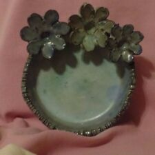 Pottery Dish Ballas Greece Applied Flowers On Edge Coin Dish Serve Collect