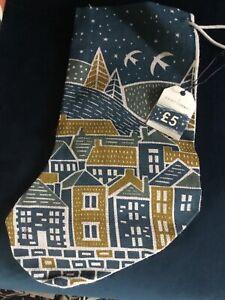Seasalt Jute Christmas Stocking 'Village Scene' BNWT