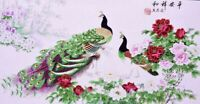 STUNNING ORIGINAL ASIAN ART CHINESE WATERCOLOR PAINTING-Wonderful Peacock&flower