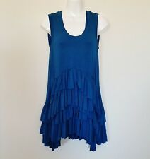 Grace Elements Womens Tunic Size M Stretch Teal Ruffled Tiered Sleeveless Top