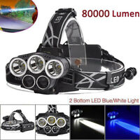 Zoomable 80000LM 5 LED Rechargeable 18650 USB Headlamp Head Light Lamp Torch New