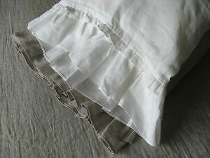 Pillow case with Double Ruffles, 100% Linen Ruffled Sham White or Oatmeal Beige