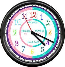 Teacher Gift Wall Clock Easy To Read Kindergarten Classroom School Kids Student