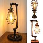 Steampunk Industrial Desk Table Lamp Pipe Light Retro Cage Fixture Bar Art Decor