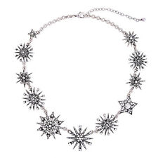 YUJIAXU Statement Starburst Collar Necklace Rhinestone Snowflake Vintage Silver