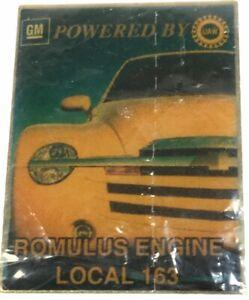 Vintage GM Motors Powered UAW Romulus Engine Local 163 Union Hat Pin rectangle