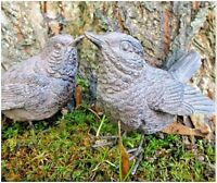 NEW Pair of Resin Wren Bird Garden Ornaments Home Indoor Outdoor Gift Decorative