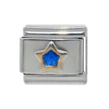 Sparkly Blue Star gold outline Italian Charm - fits 9mm Classic Italian charms