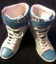 Good Condition NINE WEST Blue & White High top wedges. A MUST HAVE!!! Sz, 6