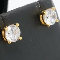 Solitaire 1CT Moissanite Stud Earring Women Wedding Jewelry 14K Gold Plated