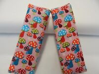 Baby Seat Belt Strap Covers Highchair Stroller Pram Coloured Mushrooms Cotton