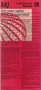 CONTINENTAL EXPRESS - SAFETY CARD - EMBRAER ERJ - 2006