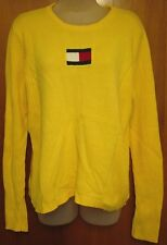 TOMMY HILFIGER vtg yellow sweater lrg knit 1980s flag logo ribbed cotton
