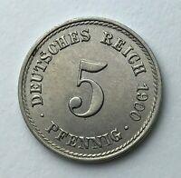 Dated : 1900 A - Germany - 5 Pfennig - German Coin - Wilhelm II