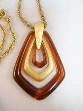 """Vintage Avon Art Deco Style Goldtone Lucite Tortoise 26"""" Necklace"""