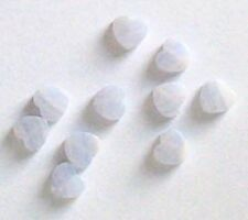 7 mm Delicate Blue Lace Agate Heart Beads, QTY 10, Beads For Jewellery and Crafts