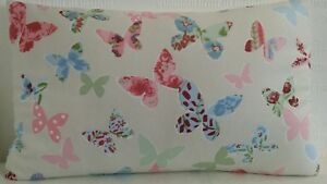 OBLONG CUSHION COVERS SHABBY 'N' CHIC PASTEL PINK & CREAM BUTTERFLY BUTTERFLIES