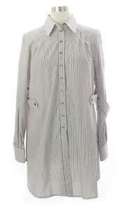 WALTER VOULAZ Women's Multi Striped Button Down Tunic C1277TC204 IT 44 NEW