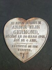 VINTAGE FRENCH 1913 HEART SHAPED DEATH PLAQUE OF A 4 YEAR OLD BOY