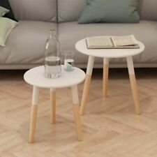 vidaXL Solid Pinewood Side Table Set 2 Piece White Living Room Coffee End
