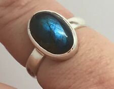 Labradorite Solid Sterling Silver Oval Ring UK Size L 1/2, New, Actual One. UK.
