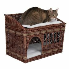 Wicker Cat Den Bed Woven Brown Den Platform High Quality Washable Cushions