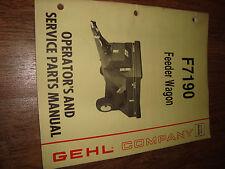 Gehl F7190 Feeder Wagon Operators Manual F 7190 904298