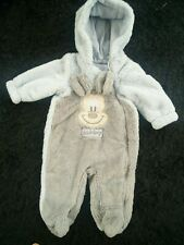 Disney Baby Babies Blue & Grey Super Soft Pram Suit All in one Snowsuit 0-3 Mths