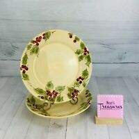 Target Holiday 2007 CLASSIC TIDING Stoneware Holly Berry Dinner Plates Set Two