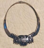 Authentic  Vintage Sterling Silver Hinged  Elaborate Bib TAXCO 'Voo' Necklace.