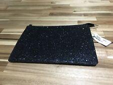 Nuevo Con Etiquetas Grande negro Embrague Bag. PVP 35 $. agotado. Cremallera Oro Brillante Brillante.