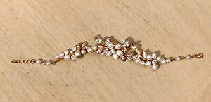 Rose Gold Floral Freshwater Pearl Bracelet w/ Rhinestones