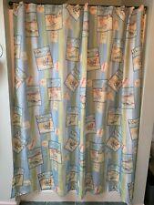 Fabric Shower Curtain, Blue & Green Stripes & Travel Shore Sea Beach Scenes, EUC