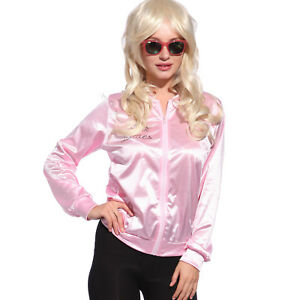 Retro 1950s Grease Pink Ladies Jacket Costume TShirt Party Fancy Dress Size 6-24