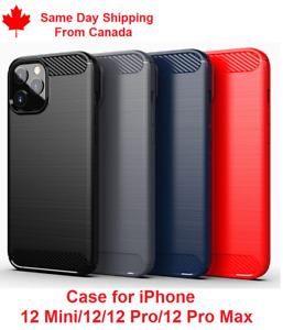 For iPhone 12/12Pro/12Mini/12Pro Max - Shockproof Carbon Fiber Soft TPU Case