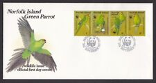 Norfolk Island 1987 Parrot Red Fronted Parakeet set 4 FDC First Day Cover