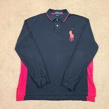 New listing Ralph Lauren Polo Shirt 2XL Big Pony Custom Fit Black Red Rugby Long Sleeve Mens