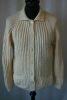 Vintage 1970's hand knit cream wool cardigan size medium Starsky & Hutch