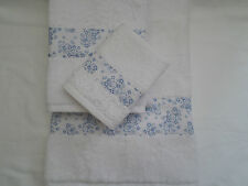 HANDMADE 3 PIECE TOWEL BALE HAND BATH - BLUE & WHITE DITSY FLORAL FABRIC