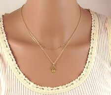 double layered hamsa necklace , 2 layers gold hamsa necklace
