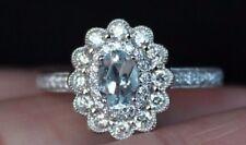 New 14K Aquamarine 1/2ct Diamond Double Halo Flower Engagement Ring White Gold