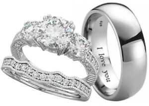 New His And Hers Titanium / 925 Silver Wedding Engagement Ring Couple Set