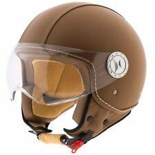Casco moto scooter Demi-Jet omologato ECE R22-05 visiera IN PELLE MARRONE uomo
