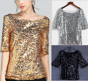 Fashion Women Shirt Sequins Long Sleeve Top Ladies Blouse T-Shirt Size6-22 E9271