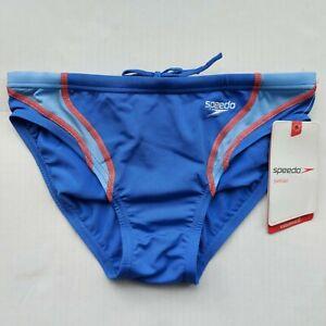 "Mens/Boys SPEEDO Endurance+ Swim Briefs Blue / Red Size 30""/Small"
