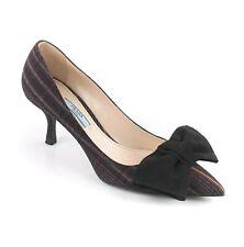 6ee54cd617a9 PRADA Navy Blue   Burgundy Red Plaid Wool Pointed Toe Bow Kitten Heels  Pumps 37