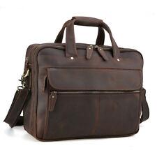 """15""""Laptop Briefcase Mens Leather Portfolio Tote Shoulder Messenger Handbag Brown"""