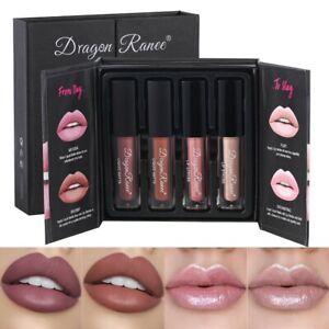4PCS/Set Long Lasting Lip Gloss Glazed Matte Beauty Liquid Lipstick Lip Make-up