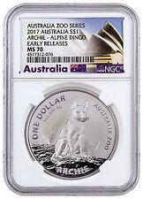 2017 Australia $1 1 oz Specimen Silver Archie Alpine Dingo NGC MS70 ER SKU44662
